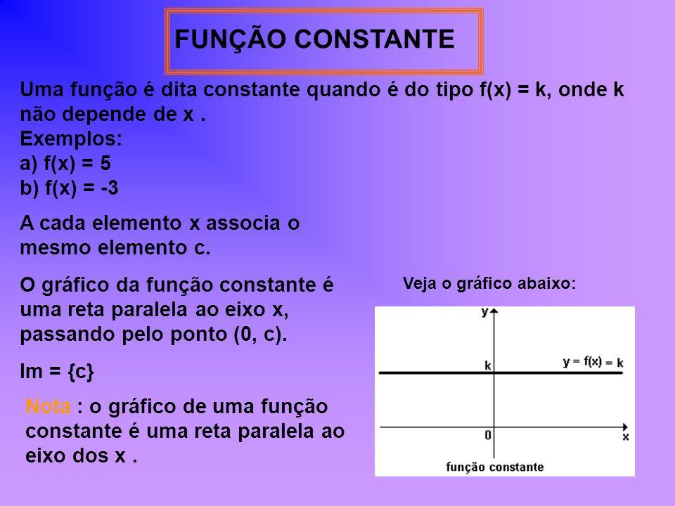 FUNÇÃO CONSTANTE Uma função é dita constante quando é do tipo f(x) = k, onde k não depende de x . Exemplos: a) f(x) = 5 b) f(x) = -3.
