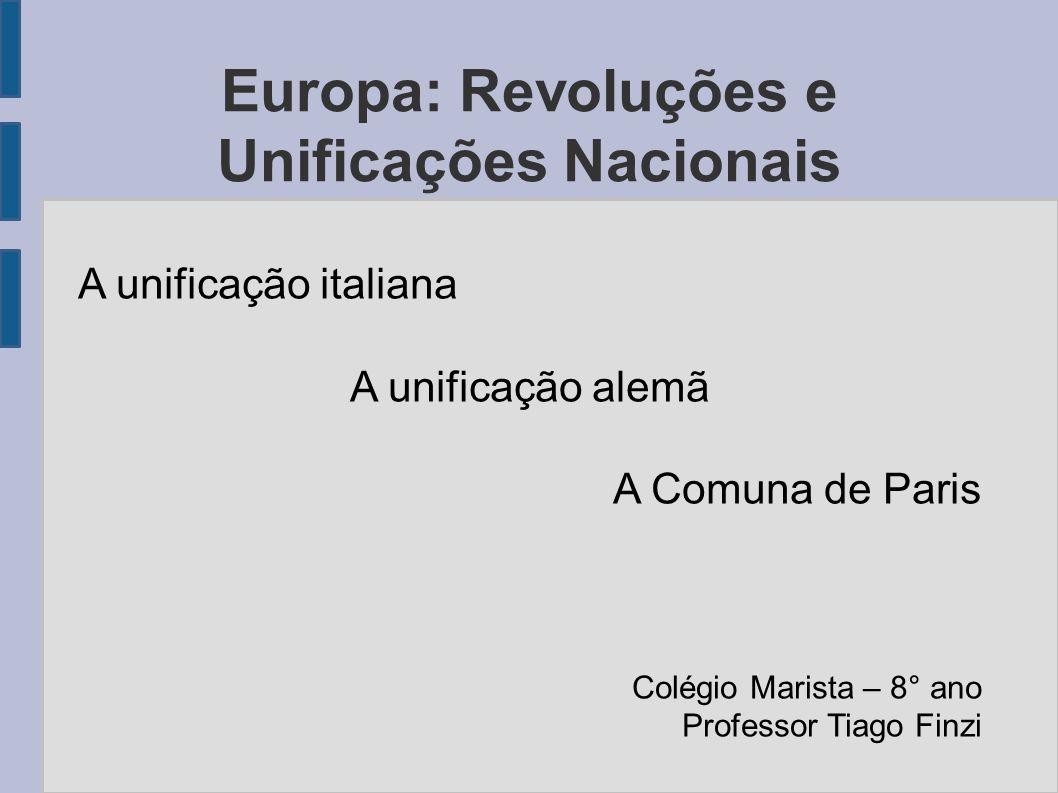 Europa: Revoluções e Unificações Nacionais