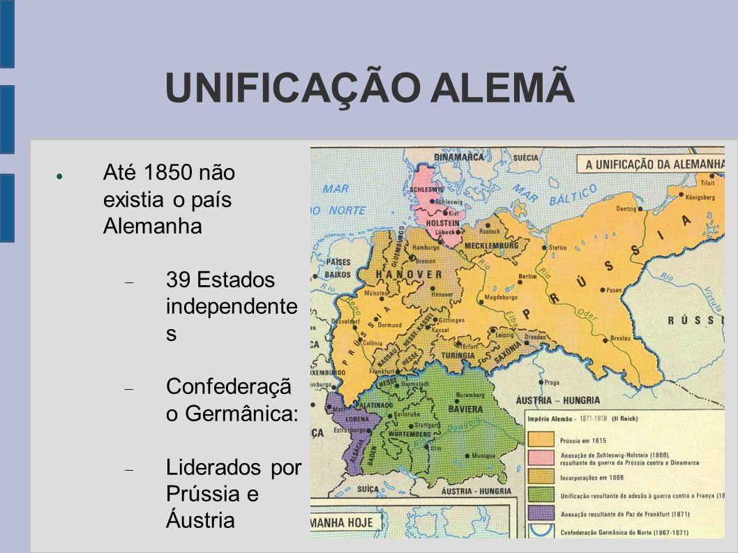UNIFICAÇÃO ALEMÃ Até 1850 não existia o país Alemanha