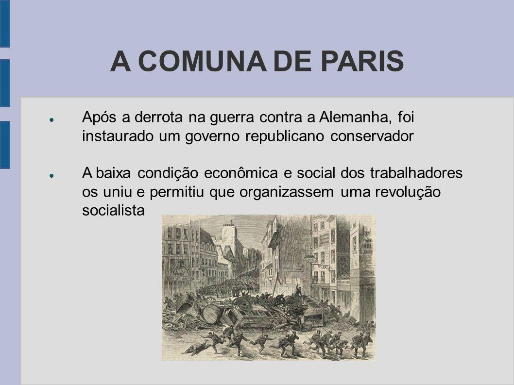 A COMUNA DE PARIS Após a derrota na guerra contra a Alemanha, foi instaurado um governo republicano conservador.