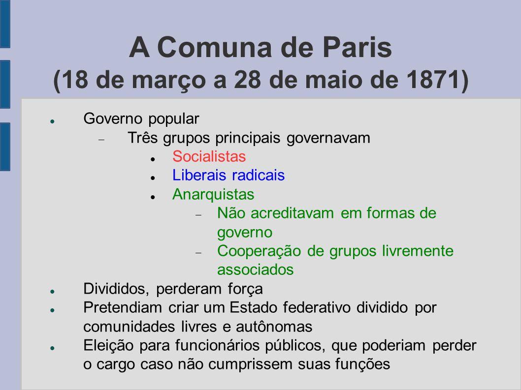 A Comuna de Paris (18 de março a 28 de maio de 1871)