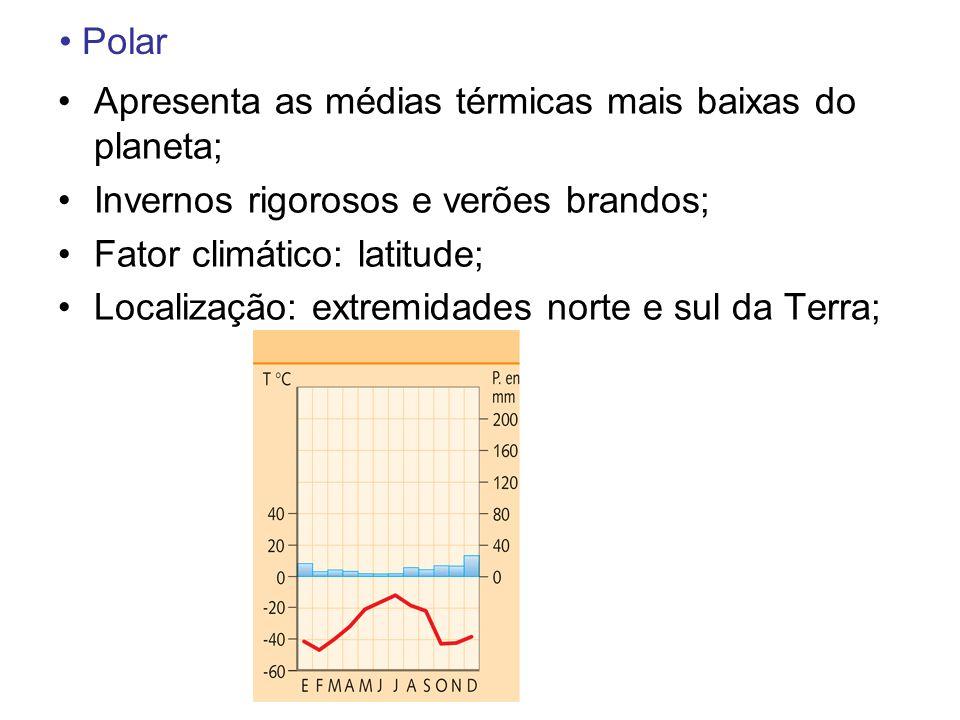 Polar Apresenta as médias térmicas mais baixas do planeta; Invernos rigorosos e verões brandos; Fator climático: latitude;