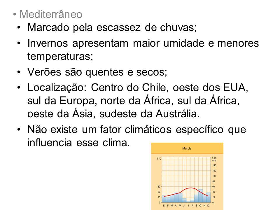 Mediterrâneo Marcado pela escassez de chuvas; Invernos apresentam maior umidade e menores temperaturas;