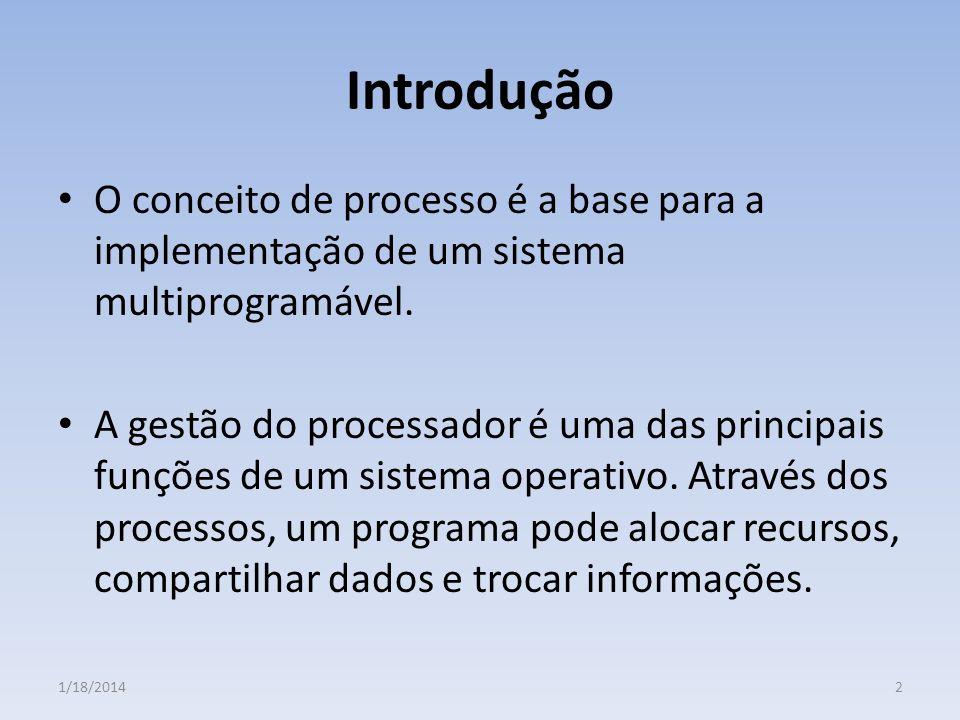 Introdução O conceito de processo é a base para a implementação de um sistema multiprogramável.