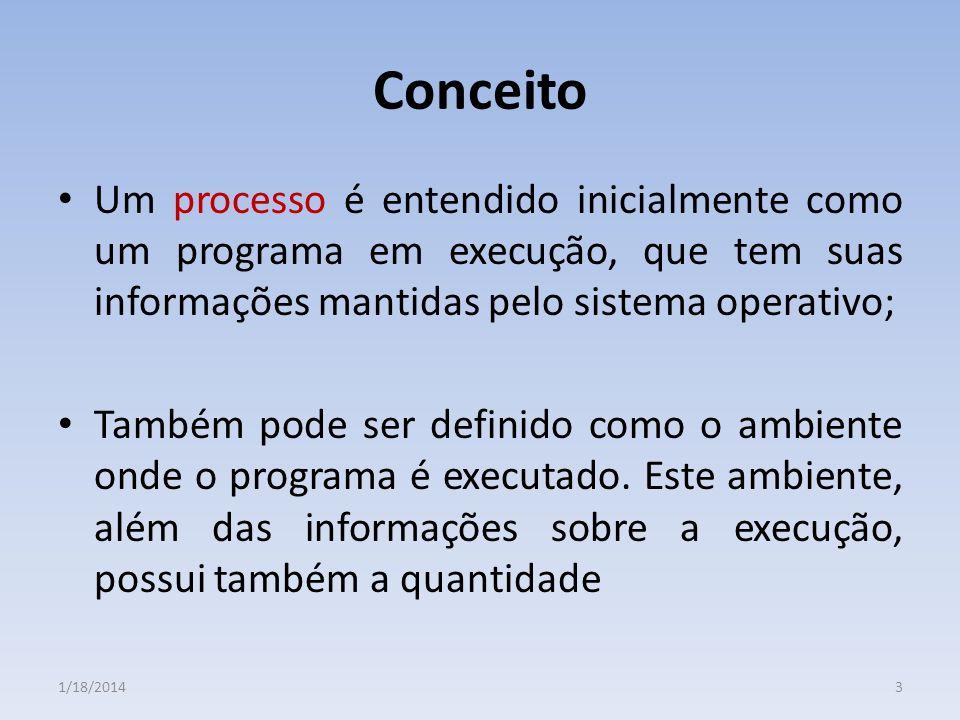 Conceito Um processo é entendido inicialmente como um programa em execução, que tem suas informações mantidas pelo sistema operativo;