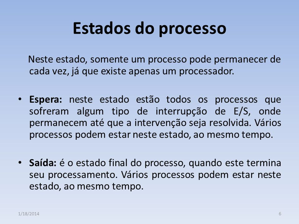 Estados do processo Neste estado, somente um processo pode permanecer de cada vez, já que existe apenas um processador.