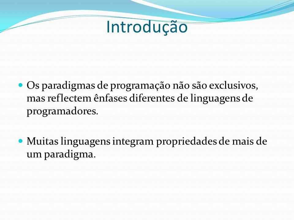 IntroduçãoOs paradigmas de programação não são exclusivos, mas reflectem ênfases diferentes de linguagens de programadores.