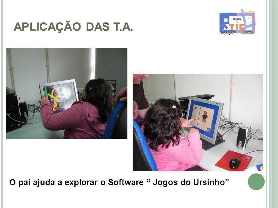 APLICAÇÃO DAS T.A. O pai ajuda a explorar o Software Jogos do Ursinho