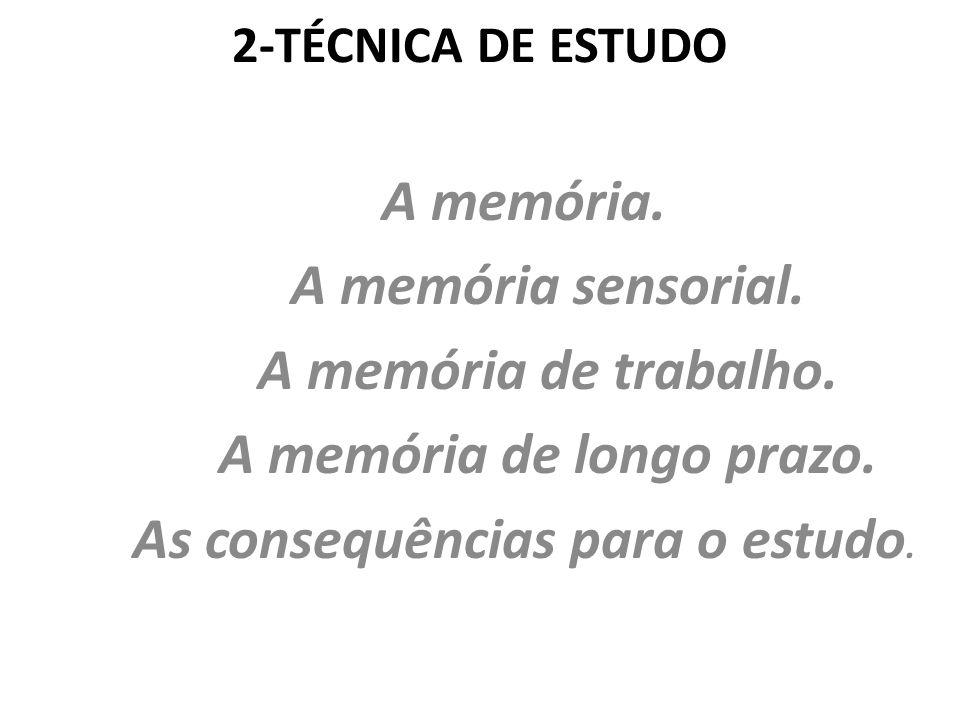 A memória de longo prazo. As consequências para o estudo.