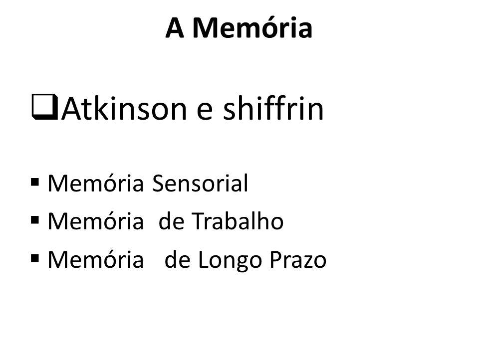 Atkinson e shiffrin A Memória Memória Sensorial Memória de Trabalho