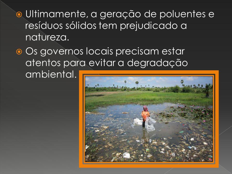 Ultimamente, a geração de poluentes e resíduos sólidos tem prejudicado a natureza.