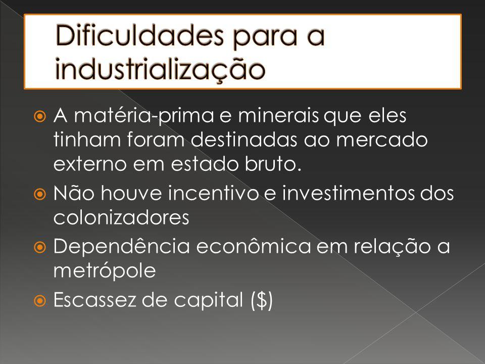 Dificuldades para a industrialização