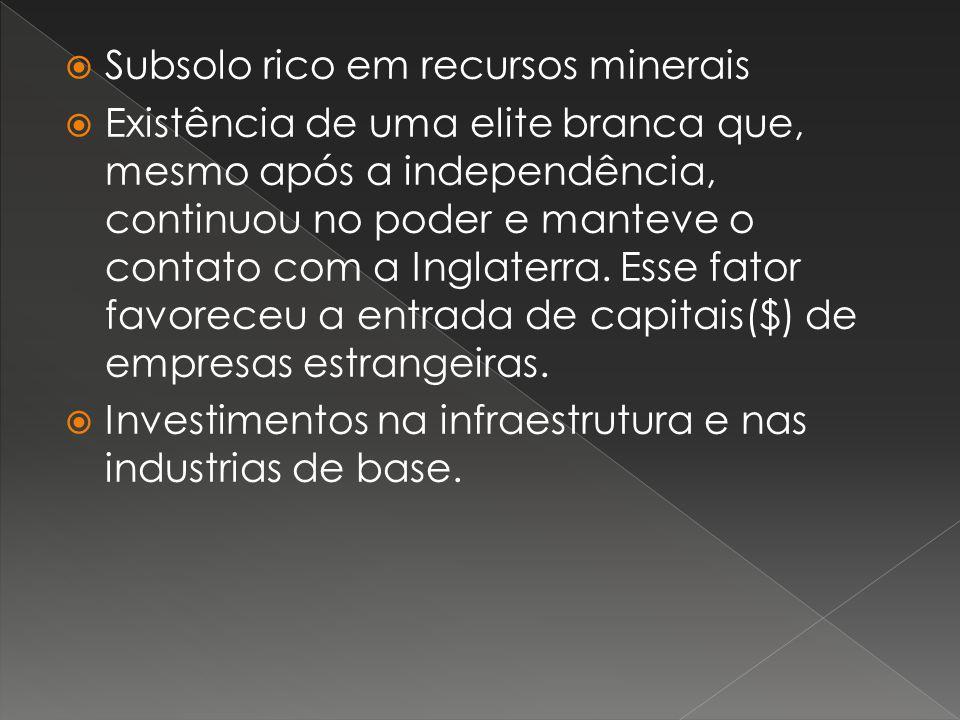 Subsolo rico em recursos minerais