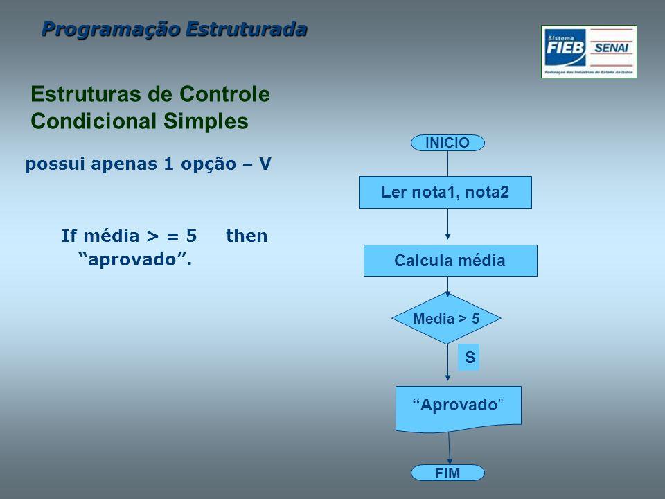 Estruturas de Controle Condicional Simples