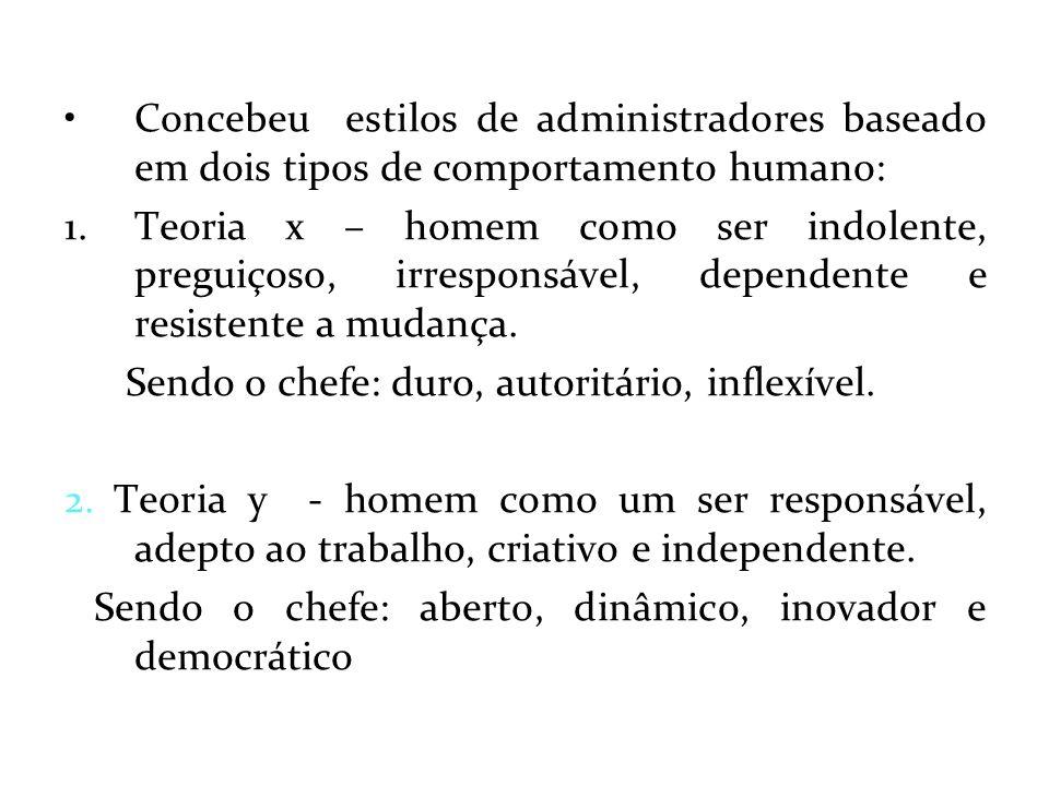Concebeu estilos de administradores baseado em dois tipos de comportamento humano: