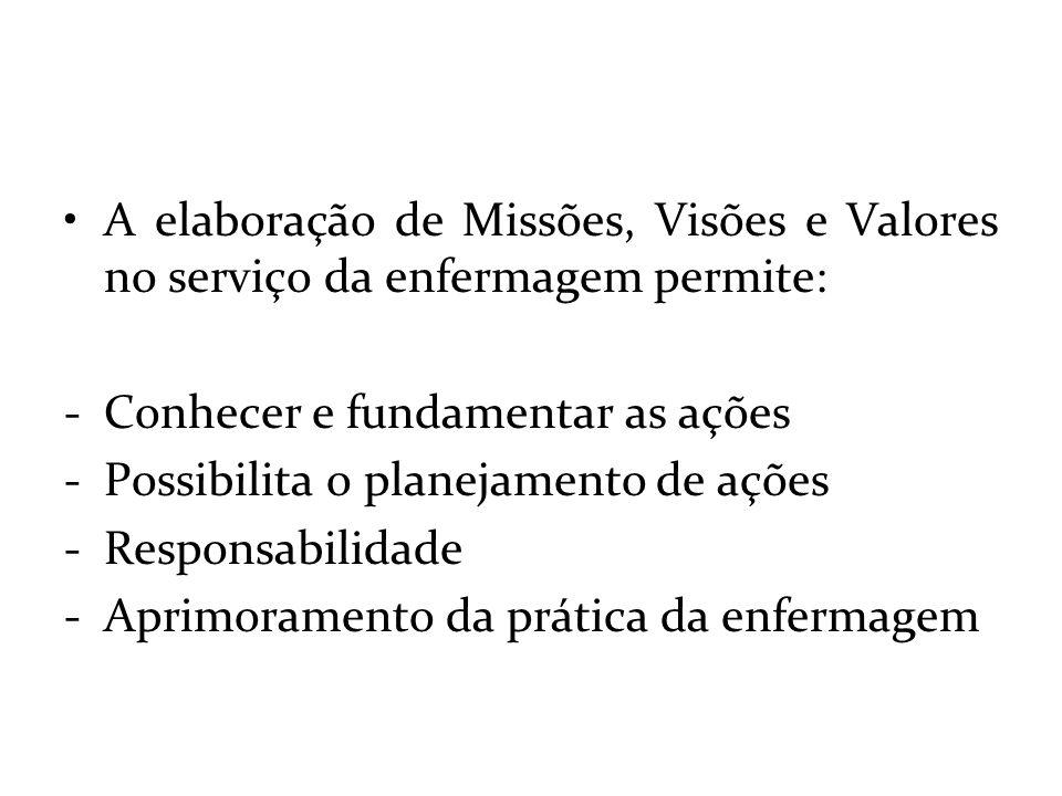 A elaboração de Missões, Visões e Valores no serviço da enfermagem permite: