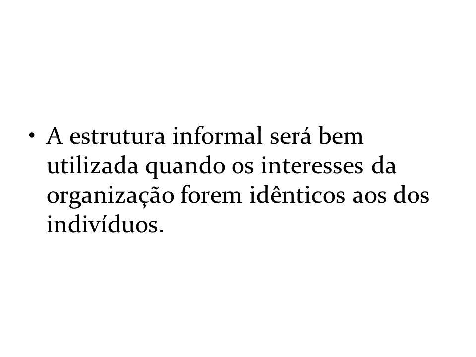 A estrutura informal será bem utilizada quando os interesses da organização forem idênticos aos dos indivíduos.