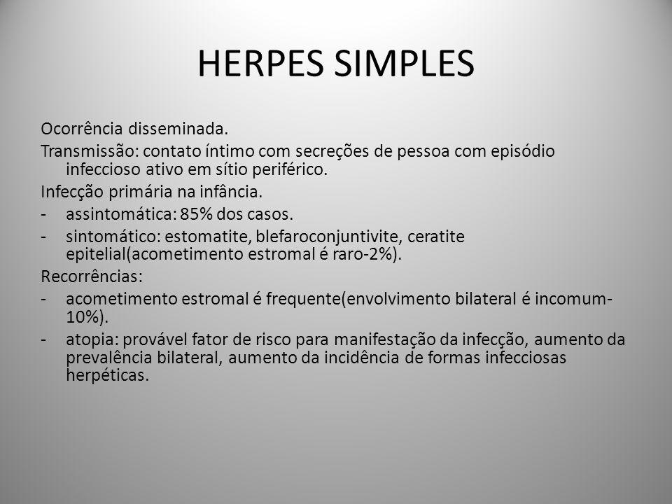 HERPES SIMPLES Ocorrência disseminada.