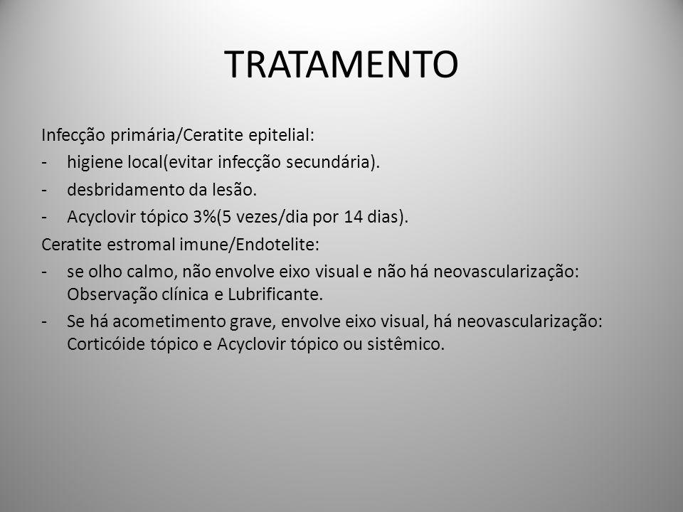 TRATAMENTO Infecção primária/Ceratite epitelial: