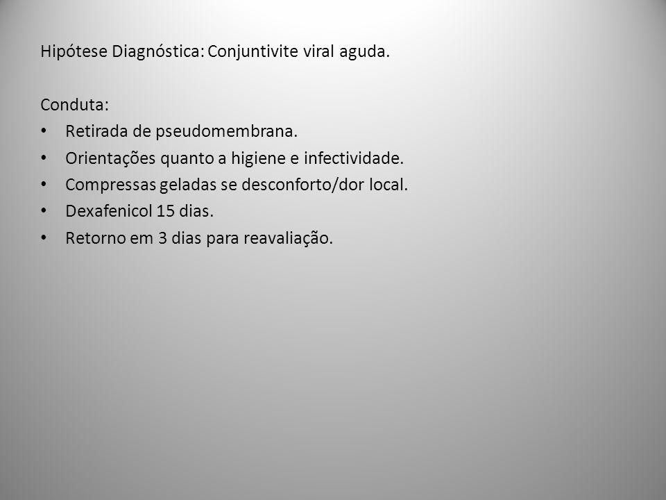 Hipótese Diagnóstica: Conjuntivite viral aguda.