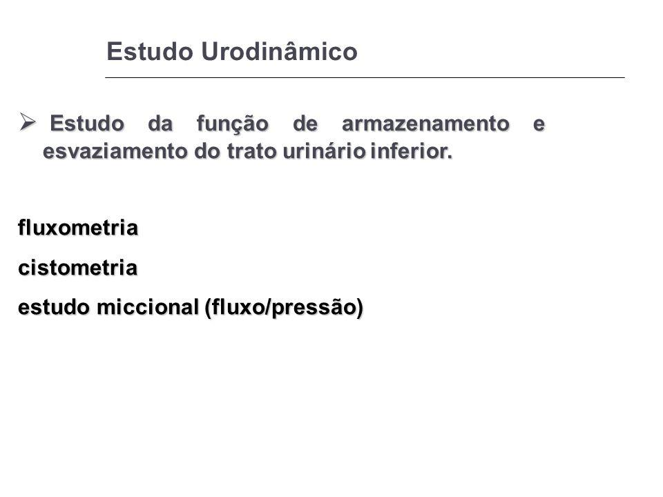 Estudo Urodinâmico Estudo da função de armazenamento e esvaziamento do trato urinário inferior. fluxometria.