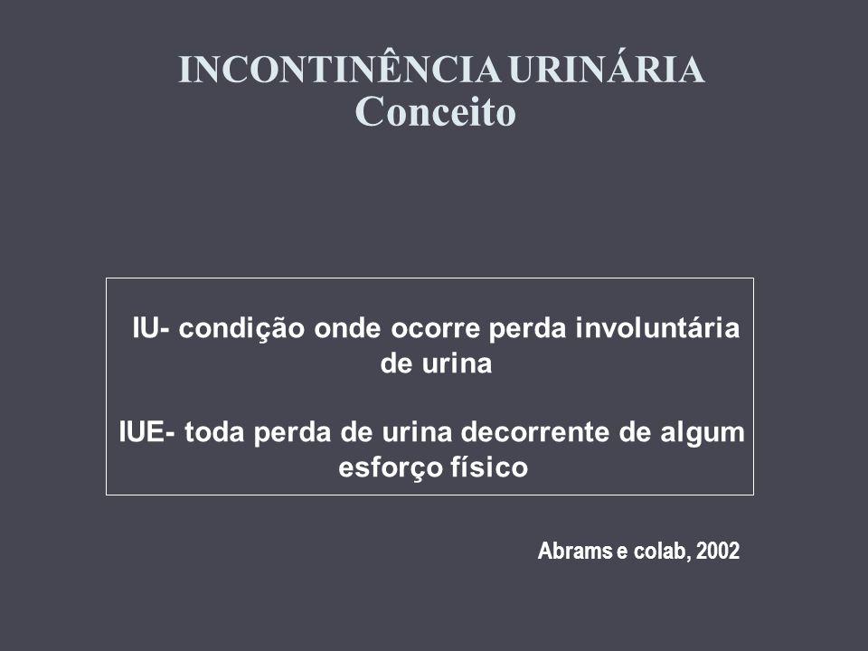 INCONTINÊNCIA URINÁRIA Conceito