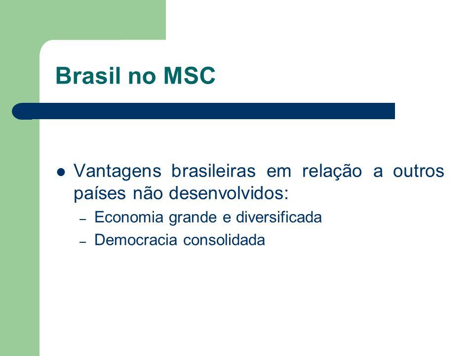 Brasil no MSC Vantagens brasileiras em relação a outros países não desenvolvidos: Economia grande e diversificada.