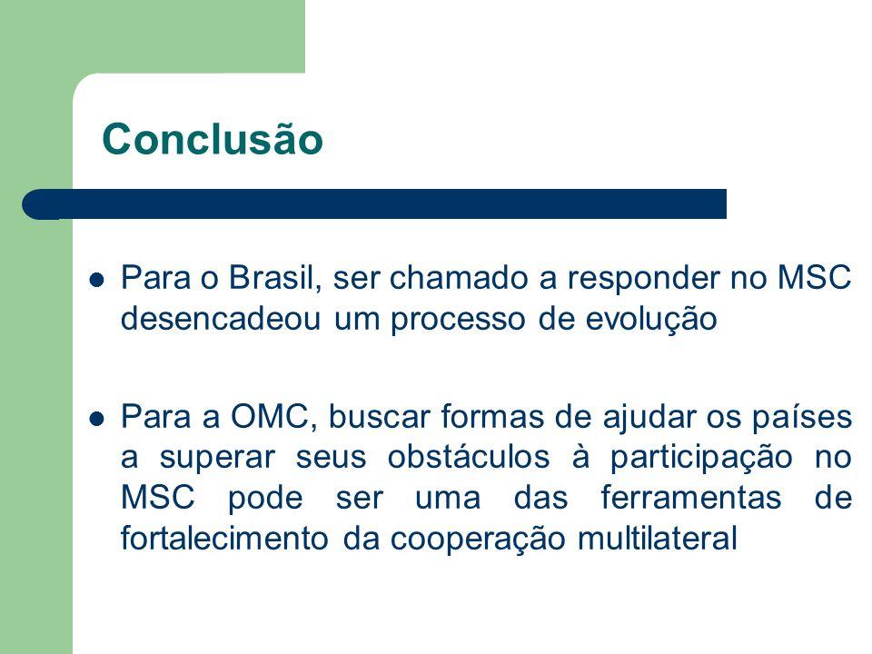 Conclusão Para o Brasil, ser chamado a responder no MSC desencadeou um processo de evolução.