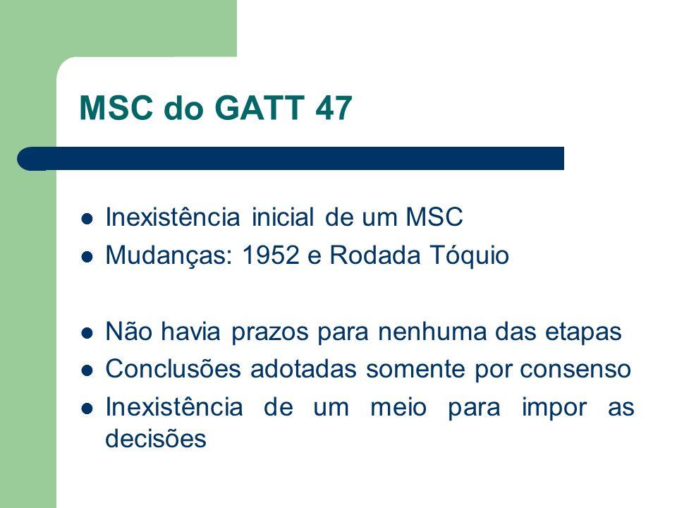 MSC do GATT 47 Inexistência inicial de um MSC
