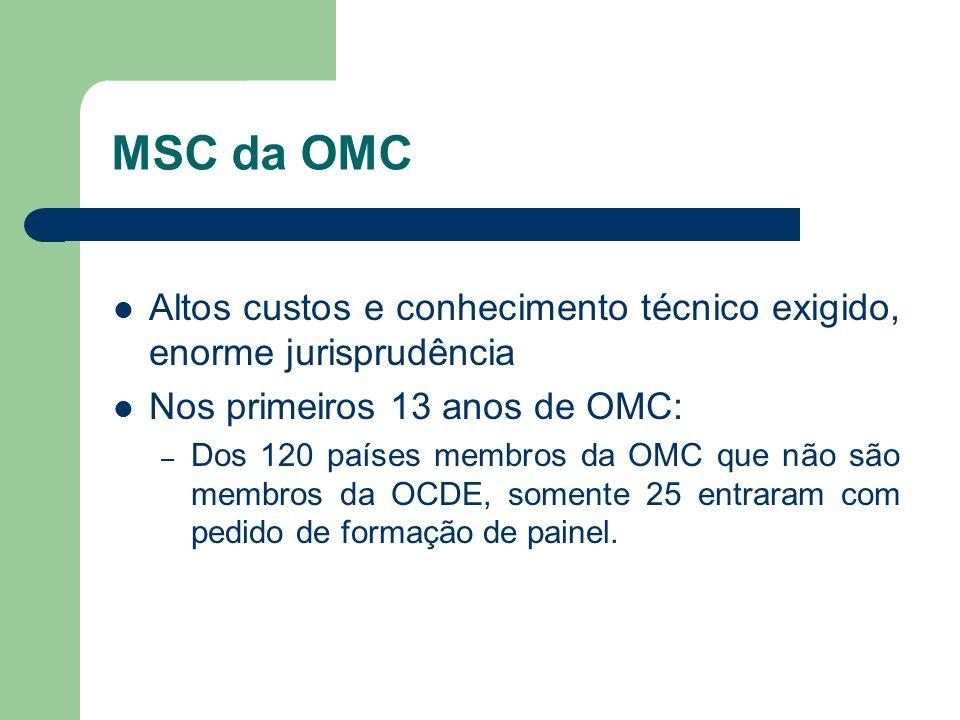 MSC da OMC Altos custos e conhecimento técnico exigido, enorme jurisprudência. Nos primeiros 13 anos de OMC: