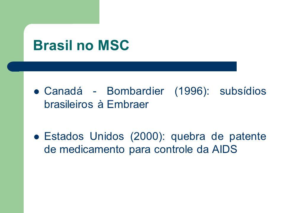 Brasil no MSC Canadá - Bombardier (1996): subsídios brasileiros à Embraer.