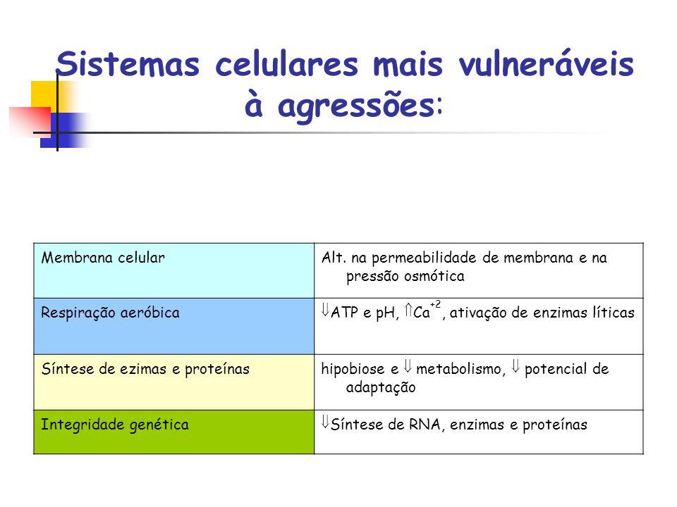Sistemas celulares mais vulneráveis à agressões: