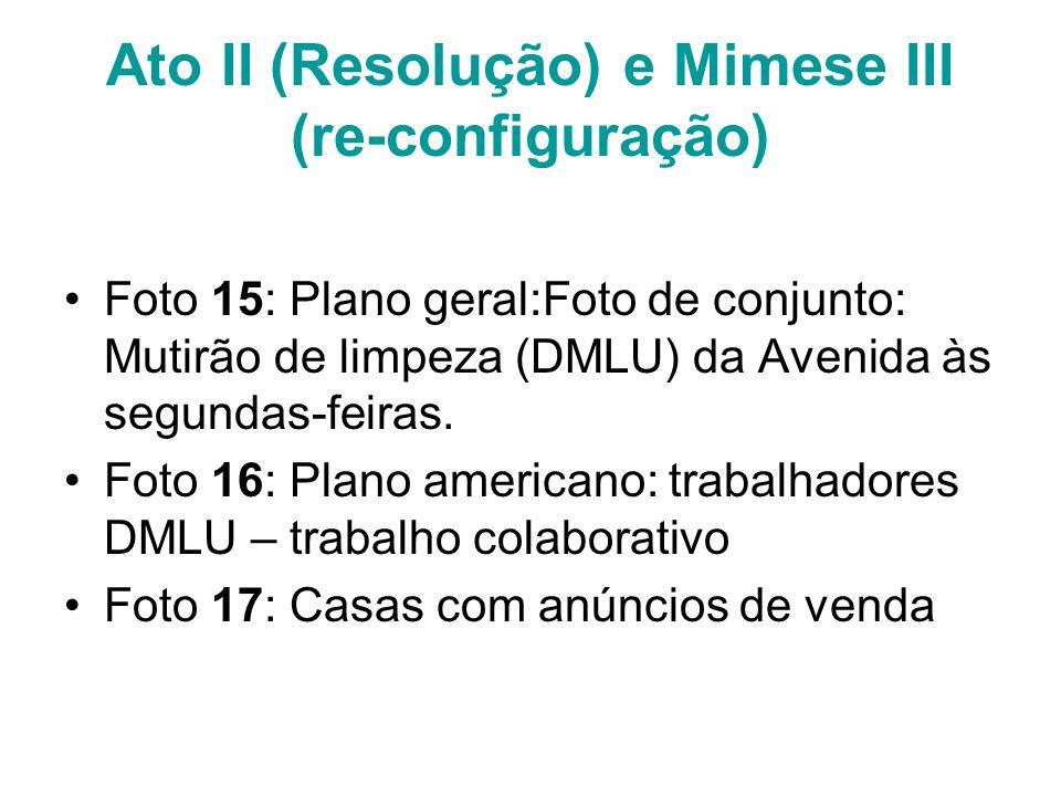Ato II (Resolução) e Mimese III (re-configuração)