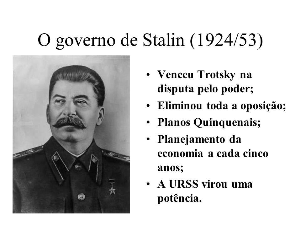 O governo de Stalin (1924/53) Venceu Trotsky na disputa pelo poder;