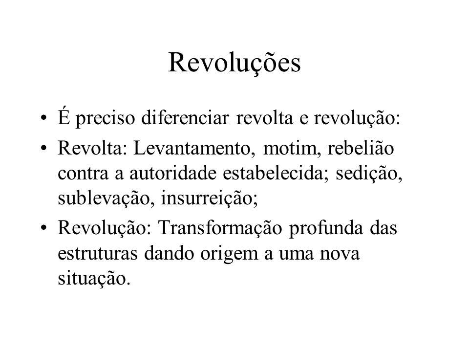 Revoluções É preciso diferenciar revolta e revolução: