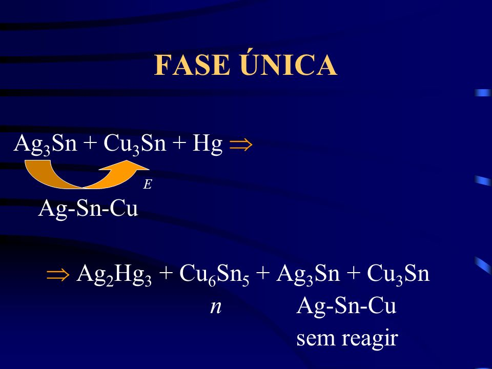 FASE ÚNICA Ag3Sn + Cu3Sn + Hg  Ag-Sn-Cu