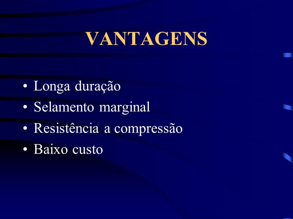 VANTAGENS Longa duração Selamento marginal Resistência a compressão