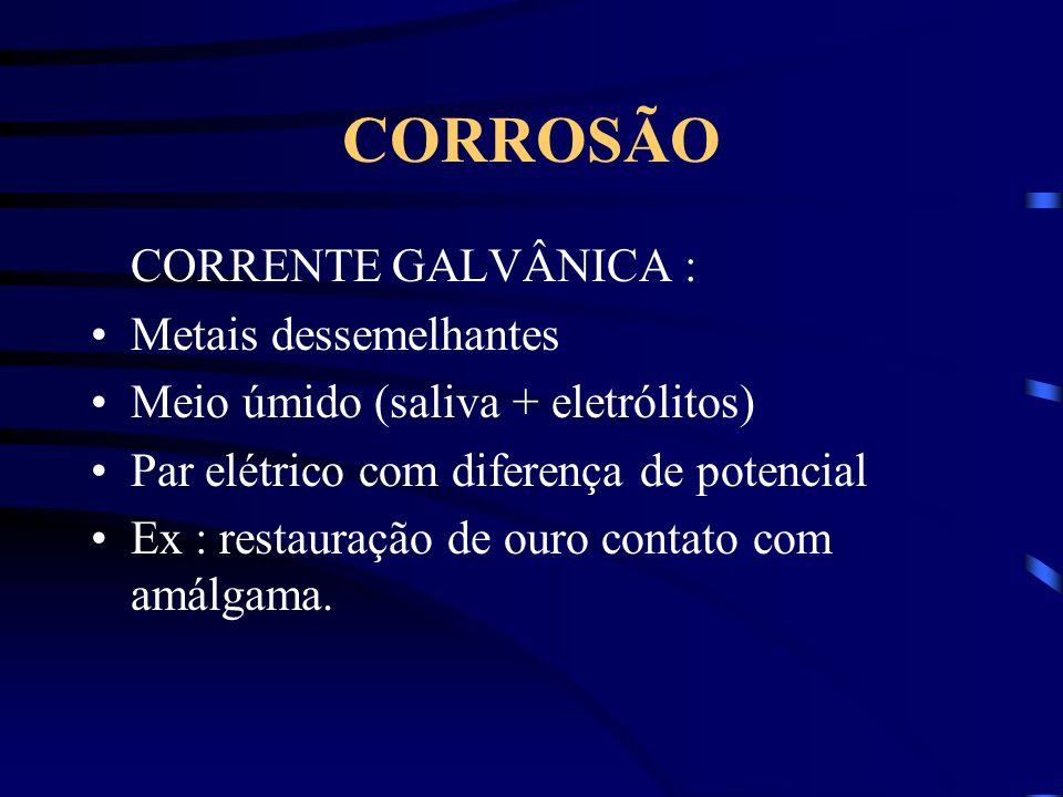CORROSÃO CORRENTE GALVÂNICA : Metais dessemelhantes