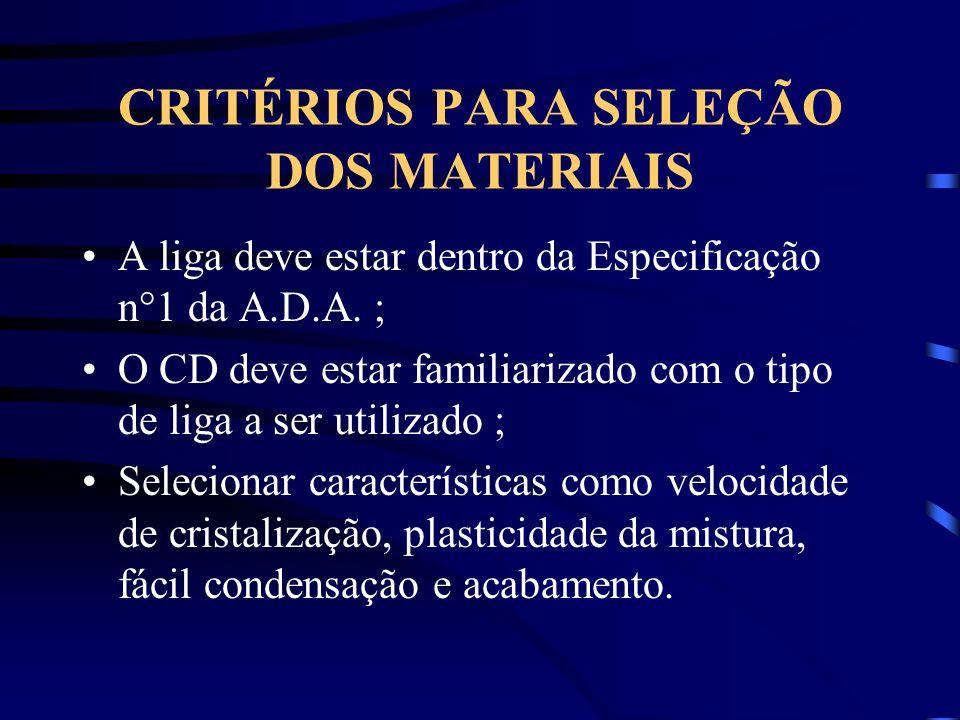 CRITÉRIOS PARA SELEÇÃO DOS MATERIAIS