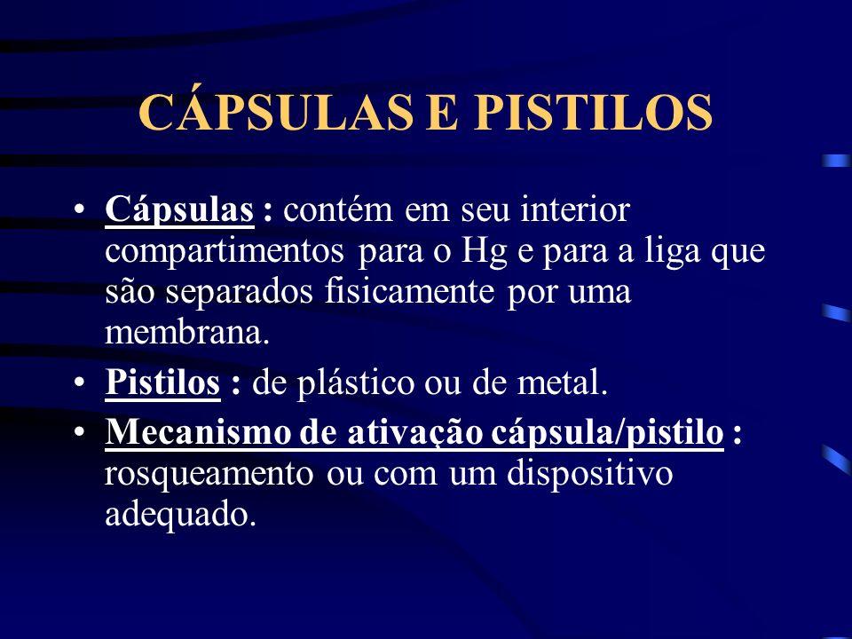 CÁPSULAS E PISTILOS Cápsulas : contém em seu interior compartimentos para o Hg e para a liga que são separados fisicamente por uma membrana.