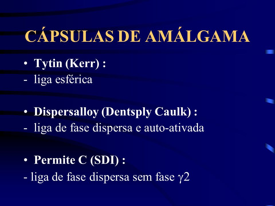 CÁPSULAS DE AMÁLGAMA Tytin (Kerr) : liga esférica