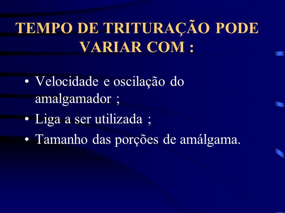 TEMPO DE TRITURAÇÃO PODE VARIAR COM :