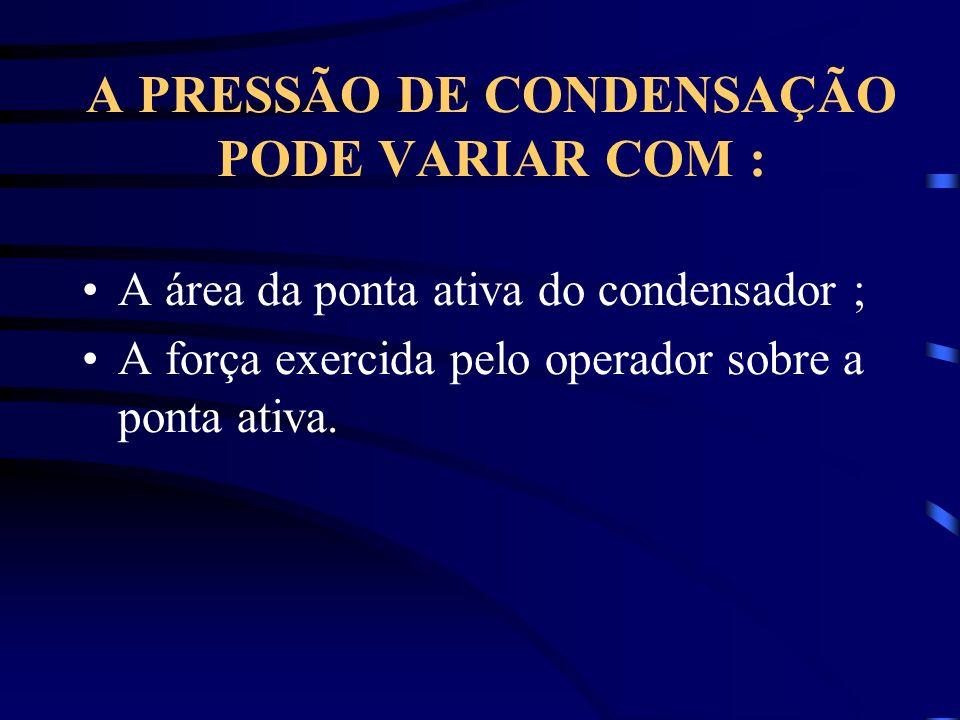 A PRESSÃO DE CONDENSAÇÃO PODE VARIAR COM :