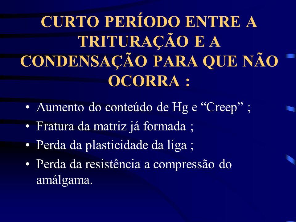 CURTO PERÍODO ENTRE A TRITURAÇÃO E A CONDENSAÇÃO PARA QUE NÃO OCORRA :