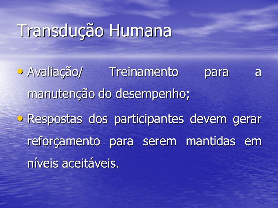 Transdução Humana Avaliação/ Treinamento para a manutenção do desempenho;