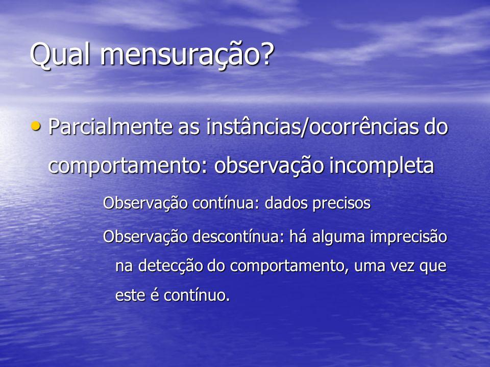 Qual mensuração Parcialmente as instâncias/ocorrências do comportamento: observação incompleta. Observação contínua: dados precisos.