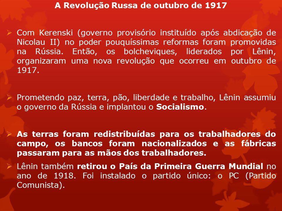 A Revolução Russa de outubro de 1917