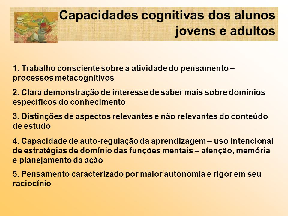 Capacidades cognitivas dos alunos jovens e adultos