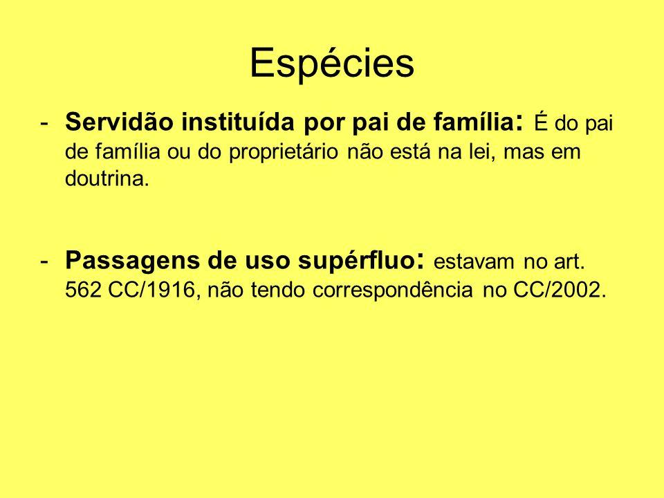 EspéciesServidão instituída por pai de família: É do pai de família ou do proprietário não está na lei, mas em doutrina.