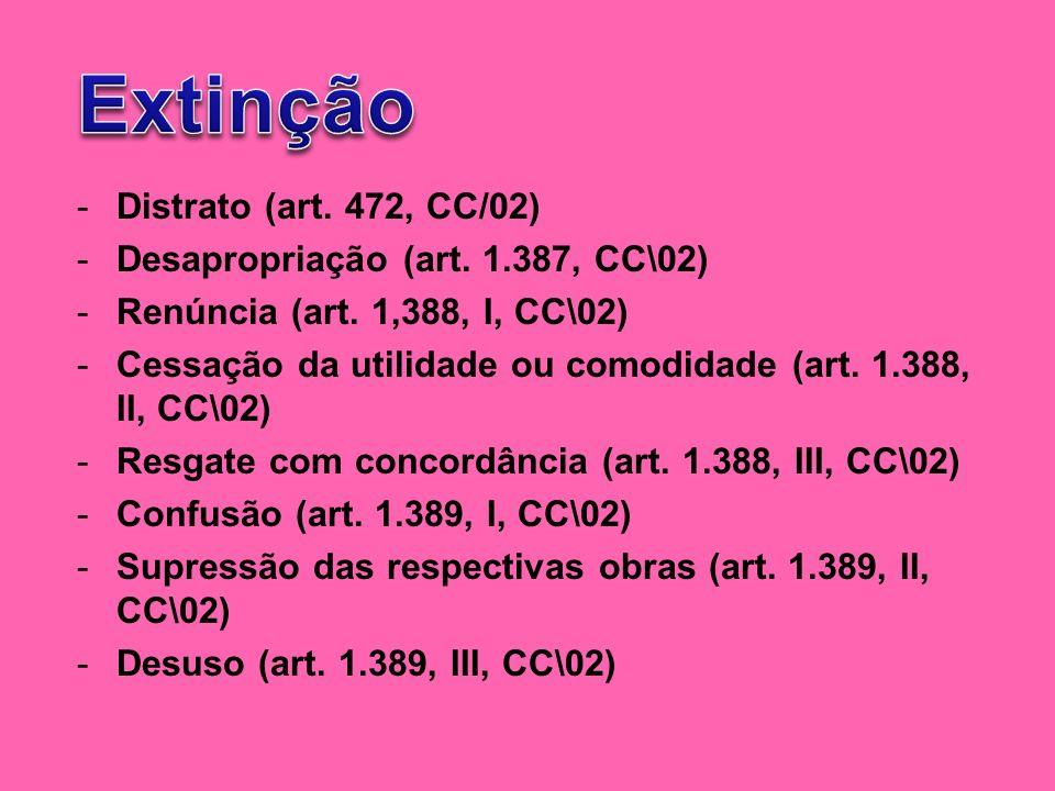 Extinção Distrato (art. 472, CC/02) Desapropriação (art. 1.387, CC\02)